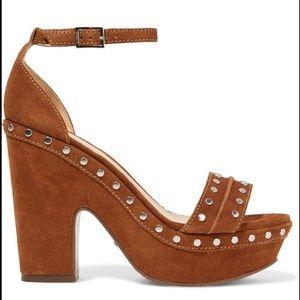 Schutz brown suede studded platform sandals